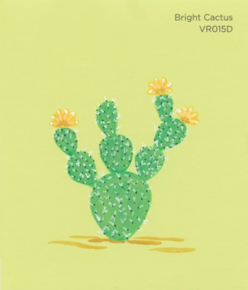 """""""Bright Cactus II,"""" acrylic on commercial paint chip, 3.5 x 3in, 2017"""