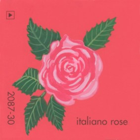 """""""Italiano Rose,"""" acrylic on commercial paint chip, 2.5 x 2.5in, 2017"""