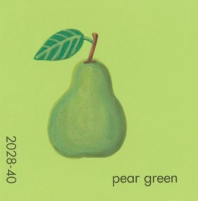 """""""Pear Green,"""" acrylic on commercial paint chip, 2.5 x 2.5in, 2017"""