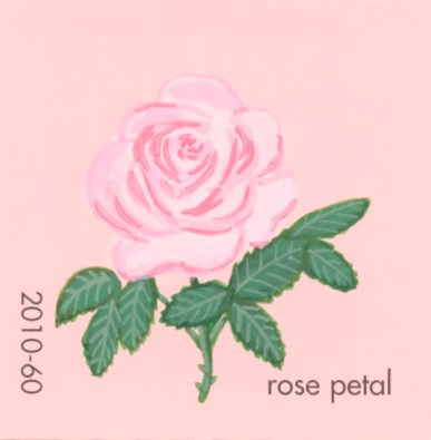 """""""Rose Petal,"""" acrylic on commercial paint chip, 2.5 x 2.5in, 2017"""