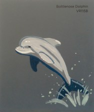 """""""Bottlenose Dolphin,"""" acrylic on commercial paint chip, 3.5 x 3in, 2016"""