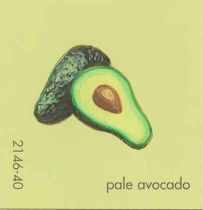"""""""Pale Avocado,"""" acrylic on commercial paint chip, 2.5 x 2.5in, 2016"""
