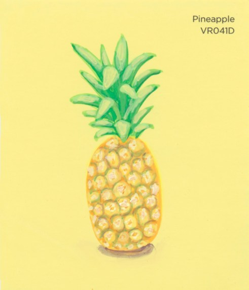 """""""Pineapple,"""" acrylic on commercial paint chip, 3.5 x 3in, 2016"""