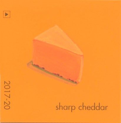 """""""Sharp Cheddar,"""" acrylic on commercial paint chip, 2.5 x 2.5in, 2016"""