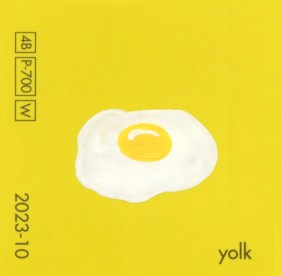 """""""Yolk,"""" acrylic on commercial paint chip, 2.5 x 2.5in, 2016"""