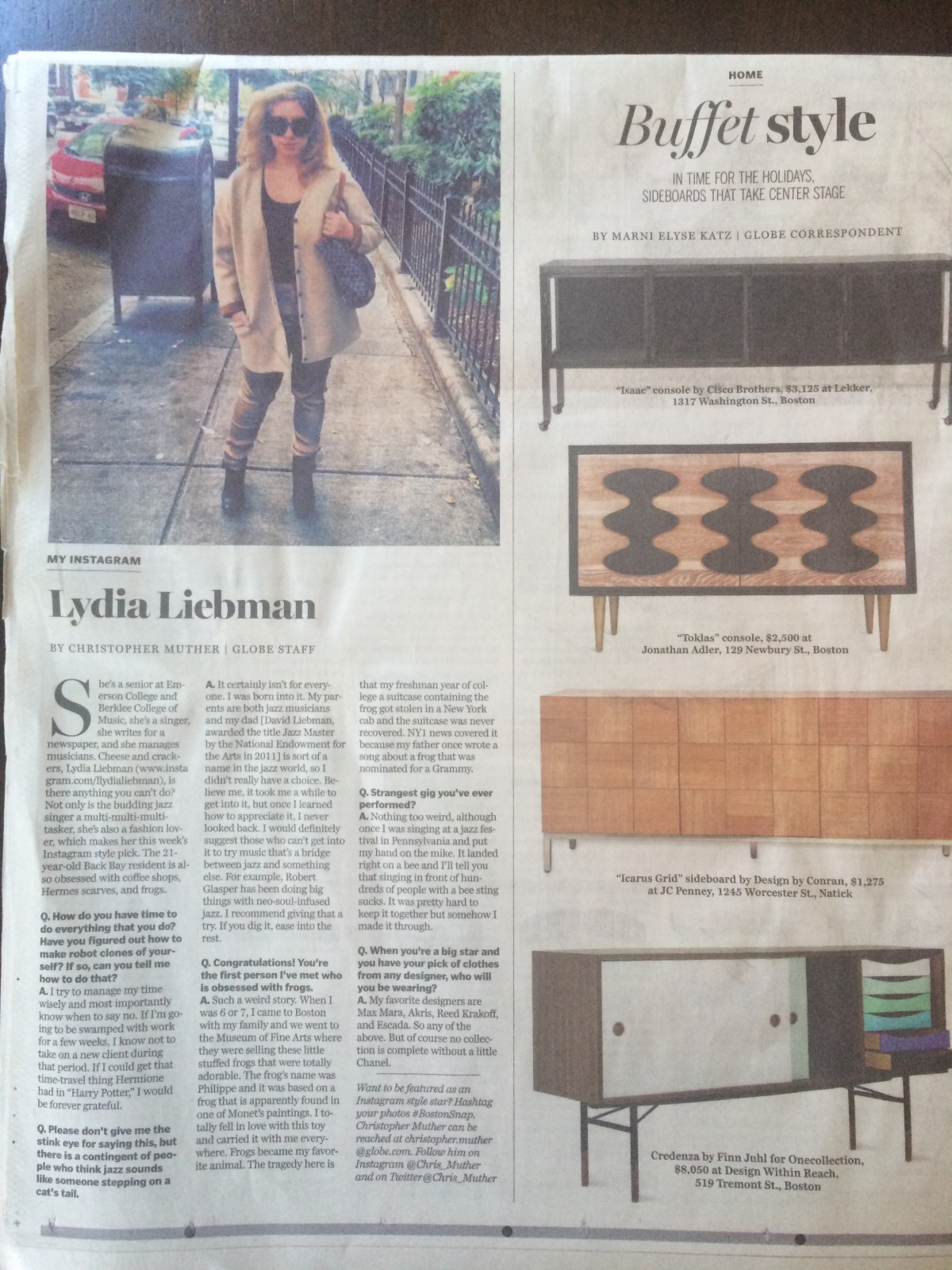 The Boston Globe, 11/2013 Full Article here: http://www.bostonglobe.com/lifestyle/style/2013/11/09/instagram-lydia-liebman/44eWYj0TOklvgYERDjQipI/story.html