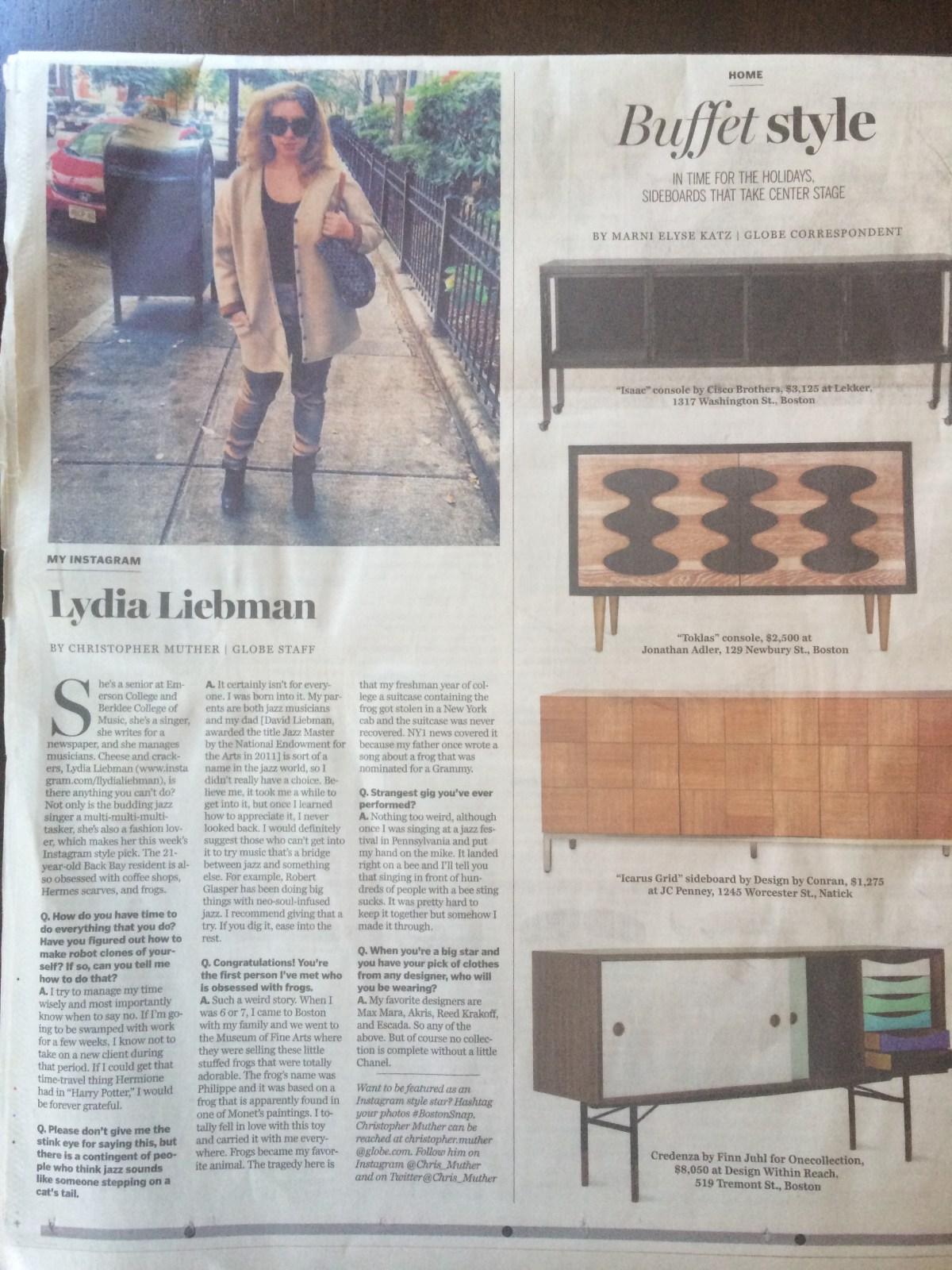 The Boston Globe, 11/2013 Full Article here: http://www.bostonglobe.com/lifestyle/style/2013/11/09/instagram-lydia-liebman/44eWYj0TOklvgYERDjQipI/story.html