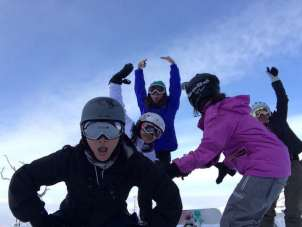 fooling around at the top of the slope