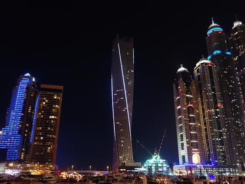 The view of the stunning Infinity Tower from the Dubai Marina