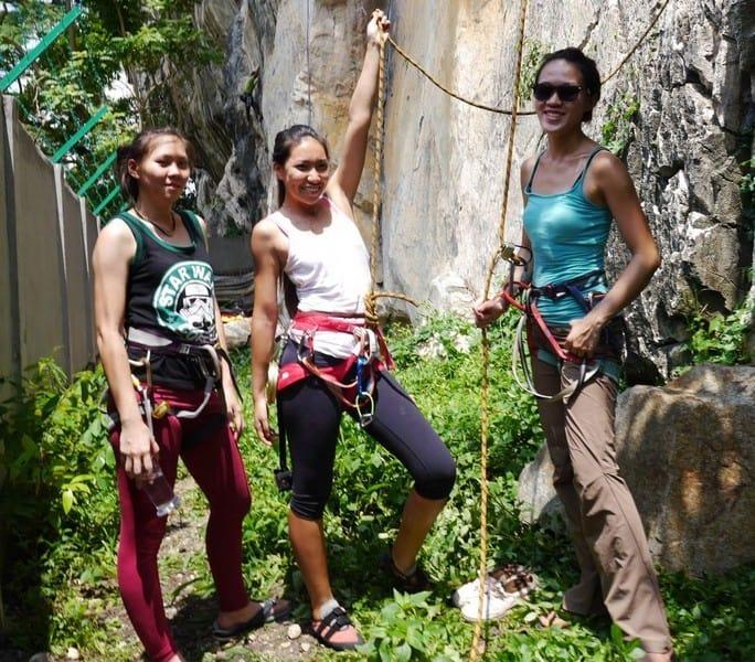 Climbing Girls that loves adventure. Climbing at Batu Caves Kuala Lumpur