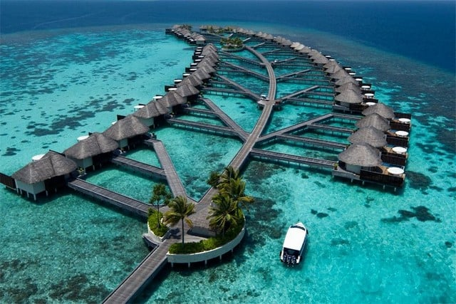 View of the villas of W Maldives from the sky