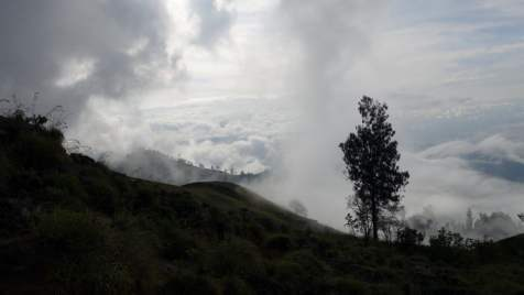 Clouds flowing past as we trek on
