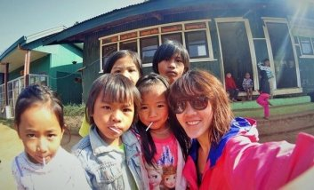 Wefie with the children in the villages