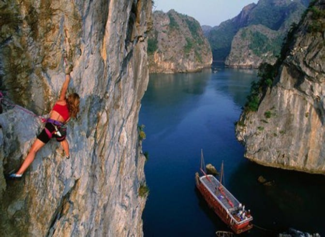 Climbing in Cat Ba in Vietnam