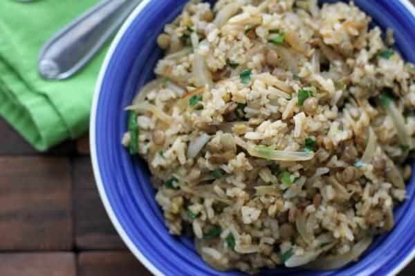 Mudjaddara: Lebanese Style Lentils and Rice ~ Lydia's Flexitarian Kitchen
