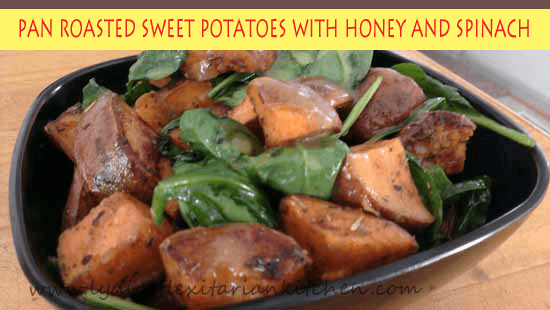 Pan Roasted Sweet Potatoes and Spinach