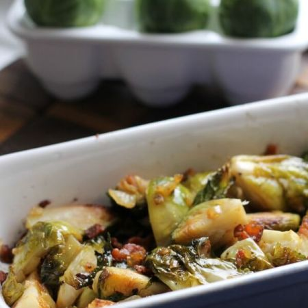 Bacon Roasted Brussels Sprouts ~ Lydia's Flexitarian Kitchen