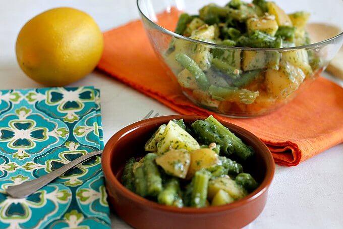 Oil Free Potatoes and Green Beans with Pesto ~ Lydia's Flexitarian Kitchen