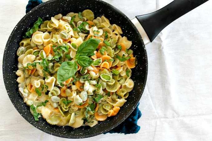 Creamy Lemon and Fava Bean Pasta ~ Lydia's Flexitarian Kitchen