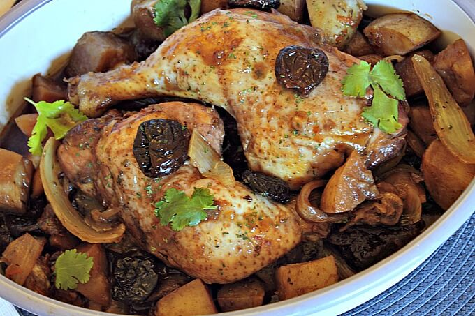 Ottolenghi's Chicken with Potatoes, Pomegranate and Prunes ~ Lydia's Flexitarian Kitchen