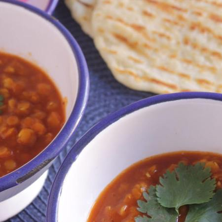 Curried Red Lentils with Flatbread and Cilantro Mint Chutney ~ Lydia's Flexitarian Kitchen