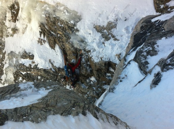 Spicy mixed solo into Dragons Tail couloir in Rocky Mountain National Park.