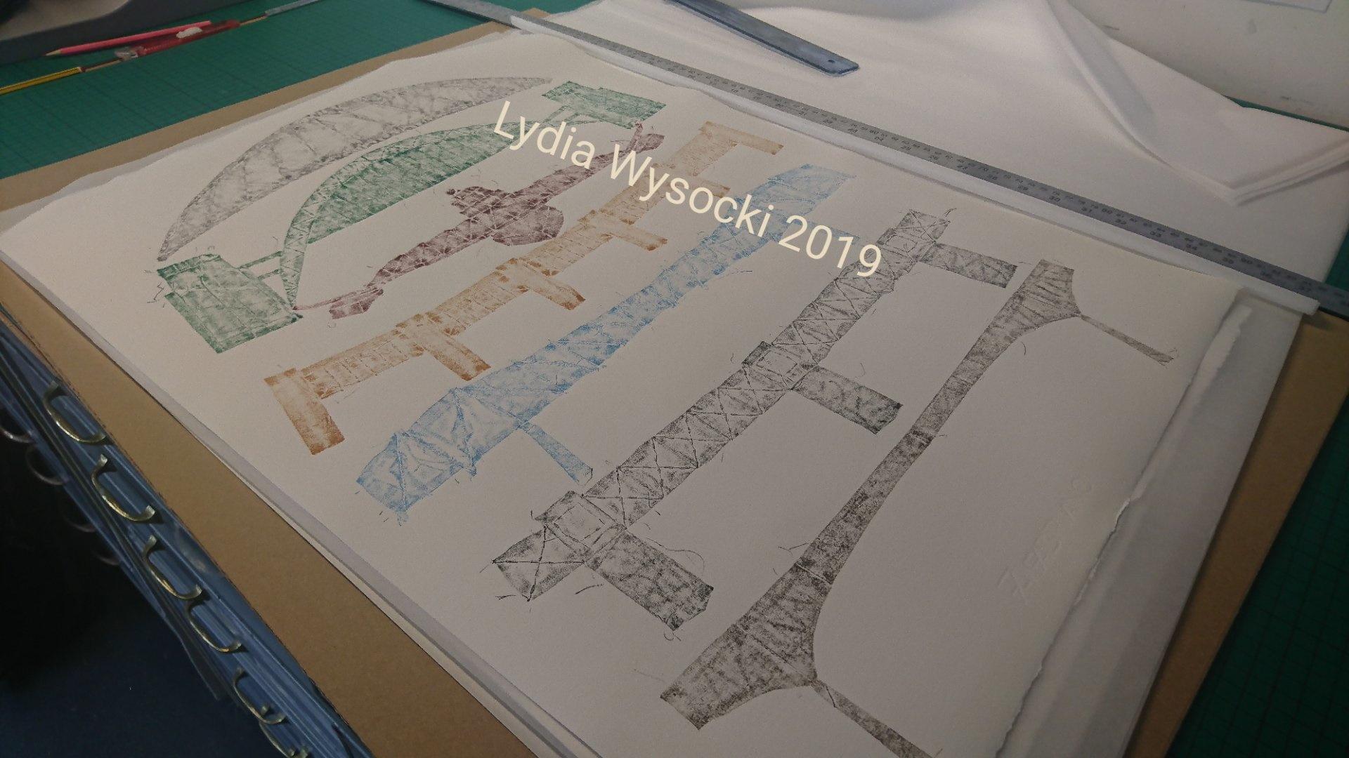 Tyne Bridges patchwork monoprint 2019