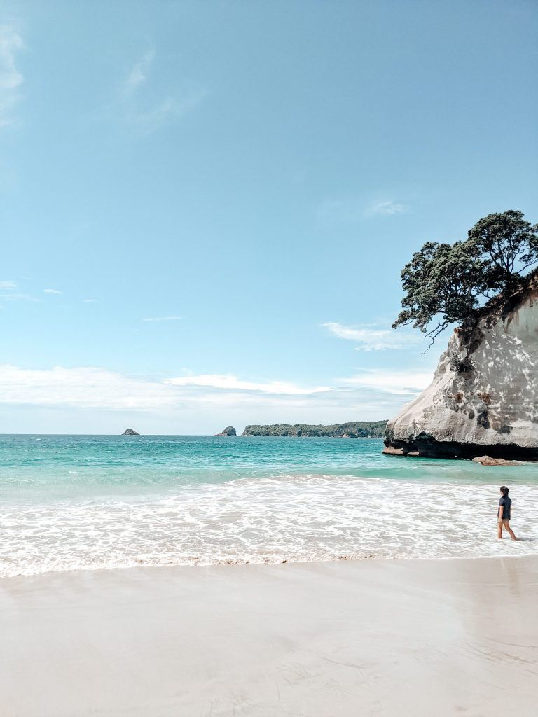 stay healthy while traveling, healthy business travel, person walking on the beach, new zealand, ocean beach, blue water, woman walking on the beach, travel, summer travel, vacation, summer trip