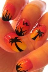 Coucher de soleil et palmiers