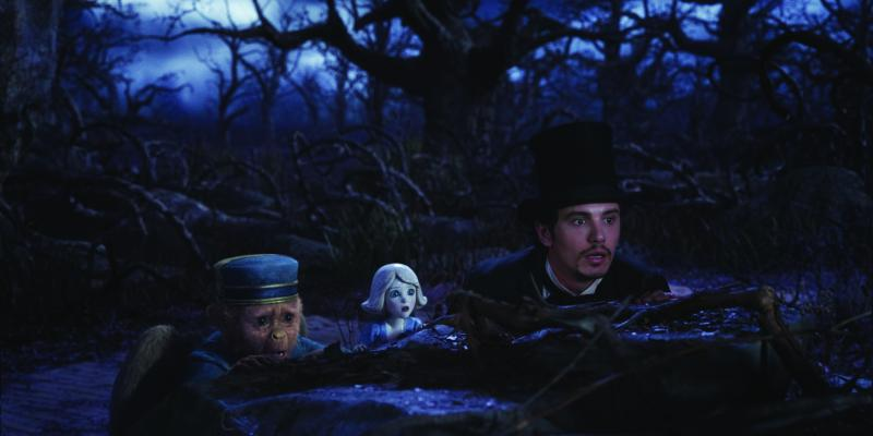 Walt Disney PicturesFinley (Zach Braff), China Girl (Joey King) and Oz (James Franco) prepare to fight the witch.