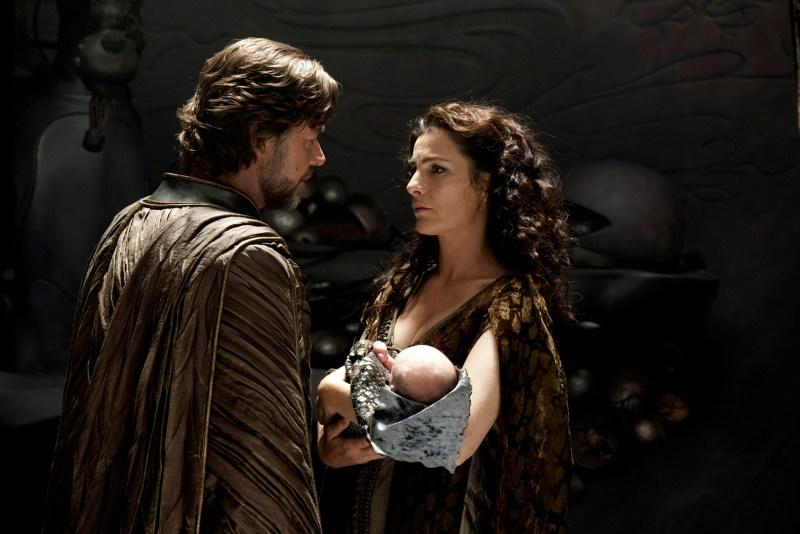 Clay Enos/Warner Bros. Pictures Russell Crowe as Jor-El and Ayelet Zurer as Lara Lor-Van with Kal-El