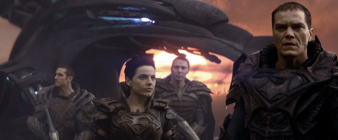 Warner Bros. Pictures Antje Traue (center) as Faora-Ul and Michael Shannon as General Zod.