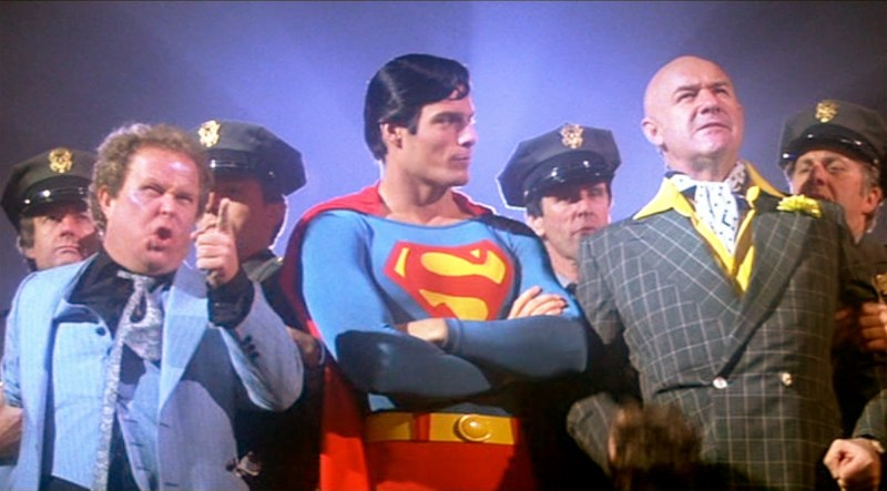 Superman the movie 1978 Ned Beatty as Otis, Christopher Reeve as Superman and Gene Hackman as Lex Luthor