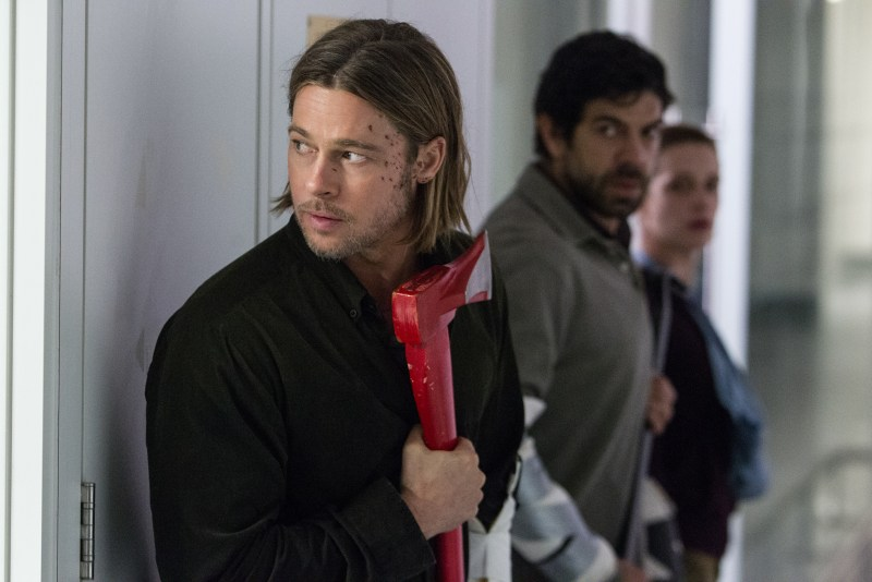Jaap Buitendijk/Paramount Pictures Gerry Lane (Brad Pitt), W.H.O. Doctor (Pierfrancesco Favino) and Segen (Daniella Kertesz).