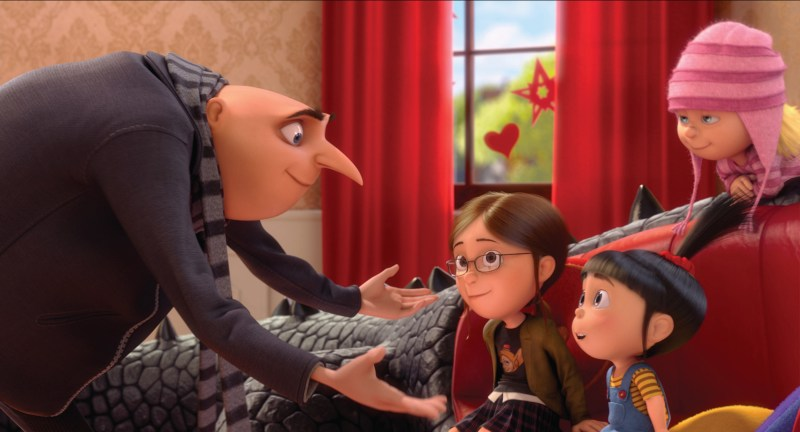 """Universal Pictures and Illumination Entertainment Gru (Steve Carell) has a big talk with Margo (Miranda Cosgrove), Agnes (Elsie Fisher) and Edith (Dana Gaier) in """"Despicable Me 2."""""""