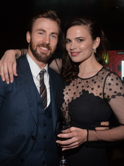 Alberto E. Rodriguez/Getty Images Chris Evans and Hayley Atwell