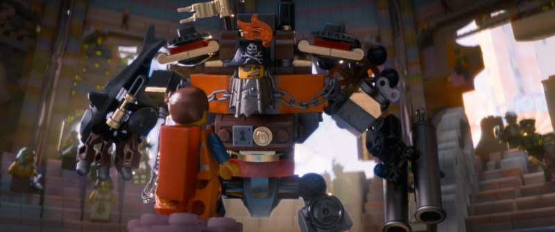 Courtesy of Warner Bros. Pictures LEGO® characters Metal Beard (voiced by Nick Offerman) and Emmet (foreground, Chris Pratt).