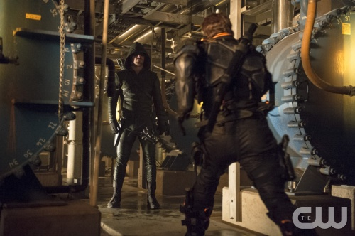 Cate Cameron/The CW Stephen Amell as The Arrow and Manu Bennett as Slade Wilson