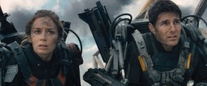 "David James/Warner Bros. Pictures Rita (Emily Blunt) and Cage (Tom Cruise) star in ""Edge of Tomorrow."""