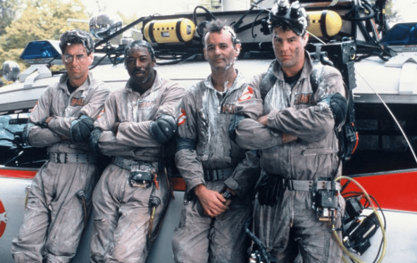 Harold Ramis, Ernie Hudson, Bill Murray and Dan Akroyd in Ghostbusters