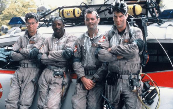 Harold Ramis, Ernie Hudson, Bill Murray and Dan Akroyd in Ghostbusters