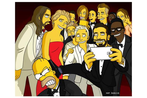 Simpsons Oscar selfie