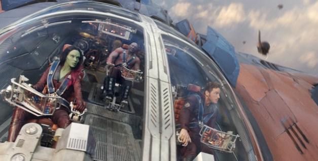 Marvel Gamora (Zoe Saldana), Groot (voiced by Vin Diesel), Drax the Destroyer (Dave Bautista) and Peter Quill/Star-Lord (Chris Pratt).