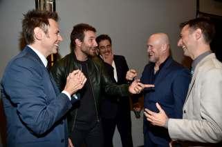 Alberto E. Rodriguez/Getty Images (from left) James Gunn, Bradley Cooper, Benicio del Toro, Michael Rooker and Sean Gunn.