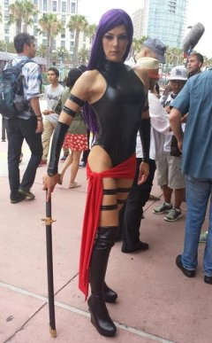 Adrianne+Curry HOT in Psylocke cosplay