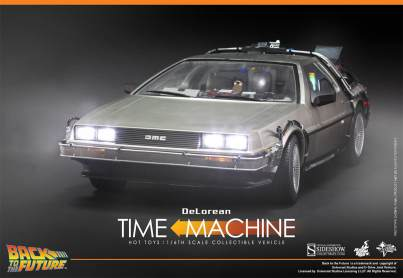 Hot Toys Back to the Future DeLorean front with lights on