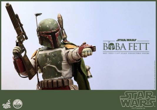 Hot Toys Return of the Jedi Boba Fett figure - aiming flame thrower