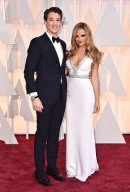Oscars 2015 - Miles Teller and Keleigh Sperry