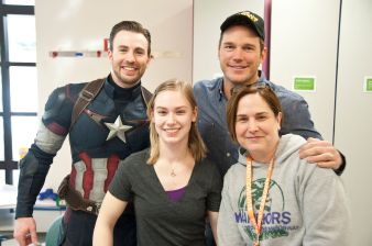 Chris Evans and Chris Pratt with pals at Seattle Children's Hospital