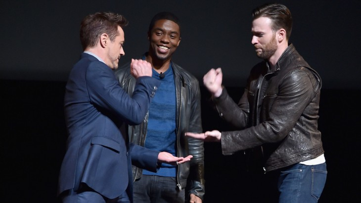 Robert Downey Jr., Chadwick Boseman and Chris Evans
